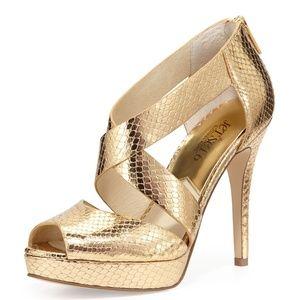MICHAEL KORS Gold Snake Platform Leather Sandals